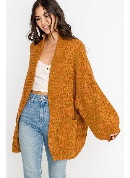 LUSH Slouchy Sleeve Knit Cardigan | Mustard