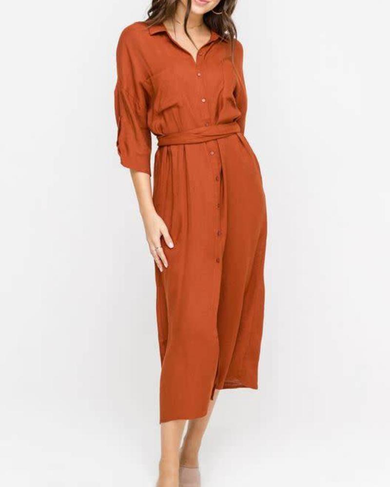 LUSH Button Down Midi Dress