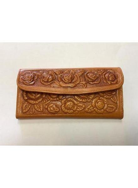 Wold & Wyze Leather Flower Wallet   Tan