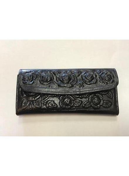 Wold & Wyze Leather Flower Wallet   Black