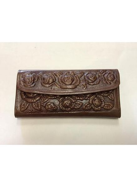 Wold & Wyze Leather Flower Wallet   Brown