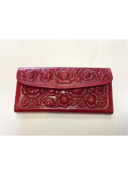 Wold & Wyze Leather Flower Wallet   Red