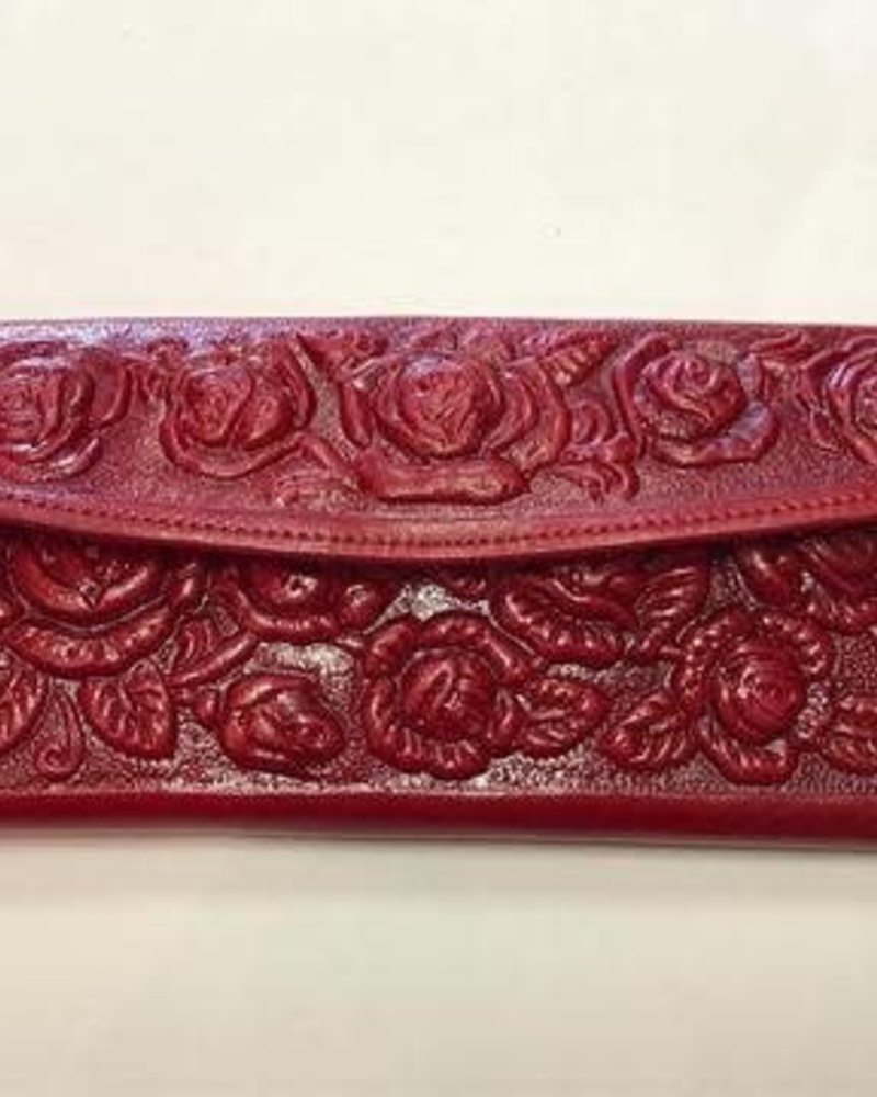 Wold & Wyze Leather Flower Wallet | Red