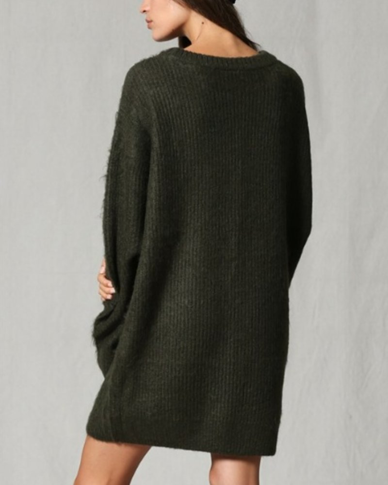 By Together Olive Fuzzy Tunic Sweater