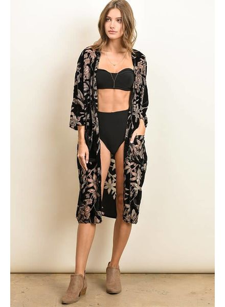 Dress Forum Floral Velvet Burnout Kimono