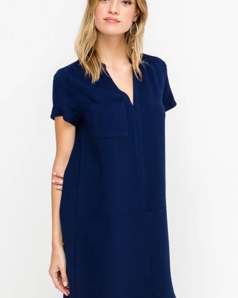 LUSH Peacoat V-Neck Shift Dress