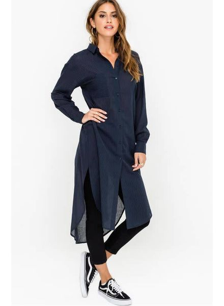 LUSH Airy Seersucker Tunic Shirt Dress Kimono
