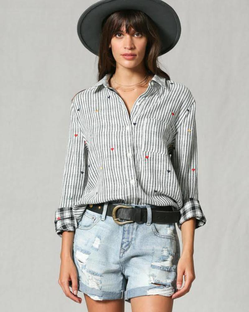 By Together Multi Colored Heart Embroidered Blouse