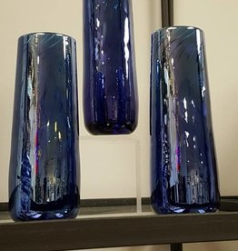 Silver Blue Bud Vases