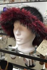Black w/Furry Red Brim Hat