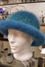 Rolled Aqua Felted Hat