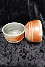 Salt fire tea bowl-blue inside