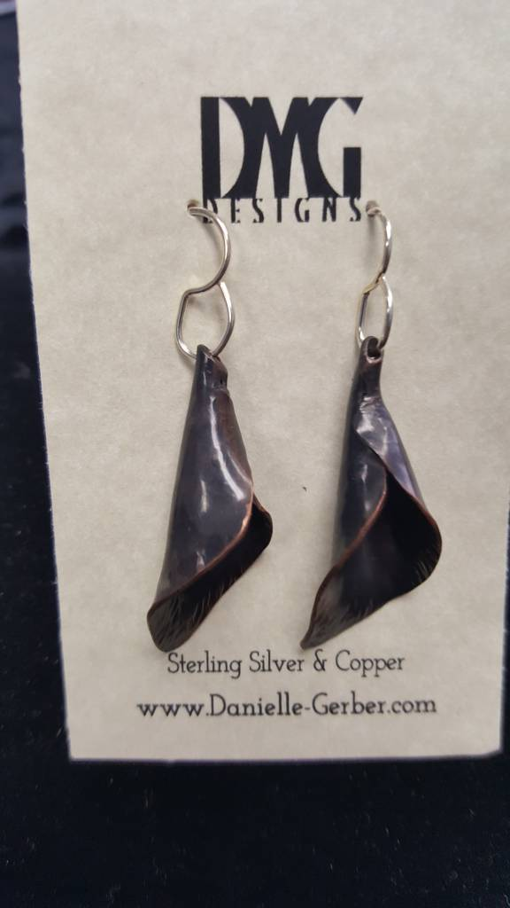 Forged Calla Lily Dangles-Copper Darkened