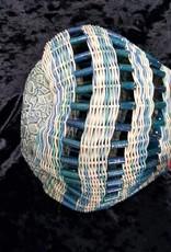 Basket Aqua Beads & Leather Trim