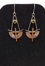 116 Mixed metal earrings w/Peridot-Amethyst