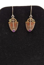 117 Mixed Metal earrings w/Peridot & Amethyst