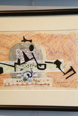 Gesture-Framed Mixed Media Collage