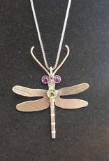 135 Dragonfly pendant w/Amethyst & Peridot