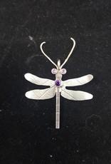 138 Dragonfly Pendant w/Pink Topaz & Amethyst