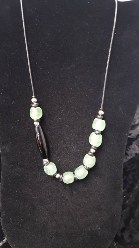 Green Sea Glass Off Set Necklace