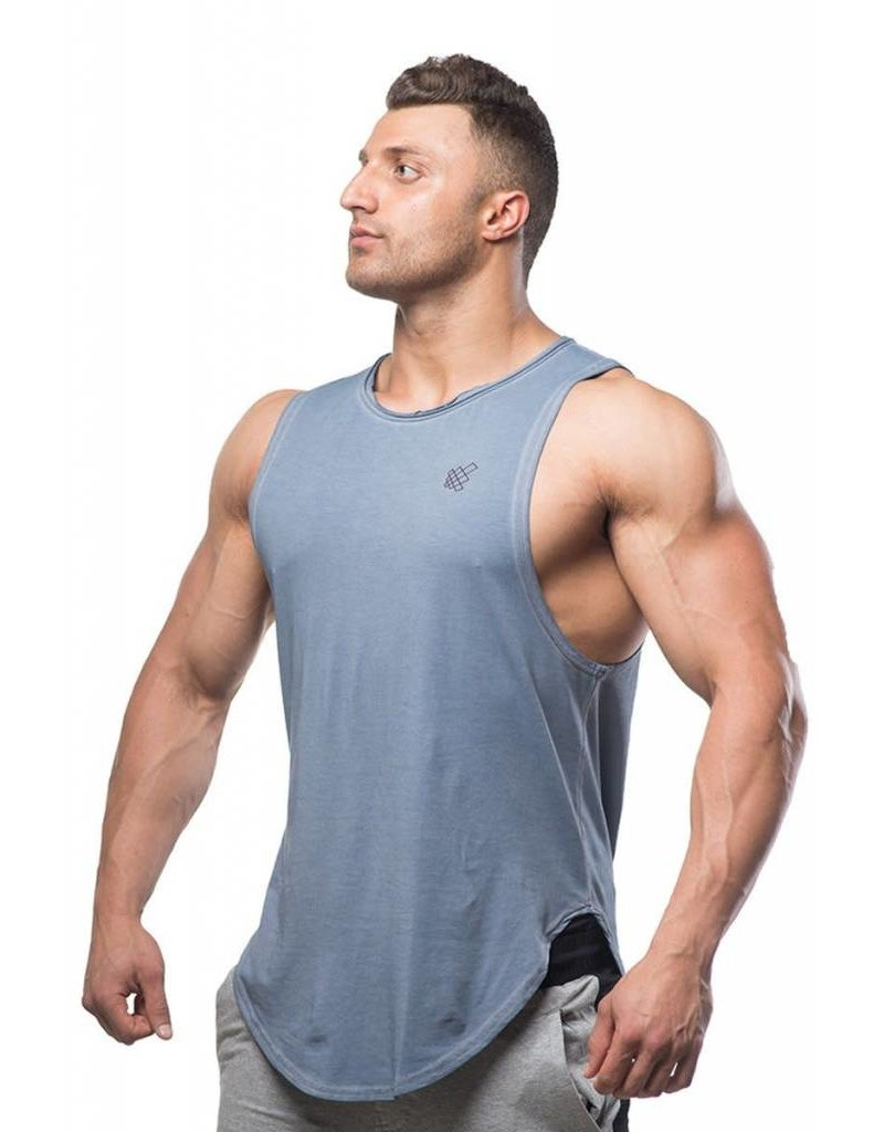 JED NORTH JED NORTH LUXE FLEX MUSCLE TEE VINTAGE, BLUE