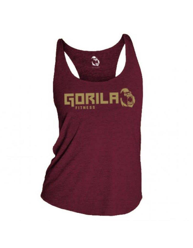 GORILA FITNESS GORILA ORGINAL TANK TOP, BURGUNDY AND GOLD