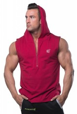 JED NORTH JED NORTH PRESTO FITTED SLEEVELESS HOODIE, RED