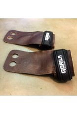 GORILA FITNESS GORILA GRIP ALL TAN LEATHER BLACK VELCRO (PAIR)
