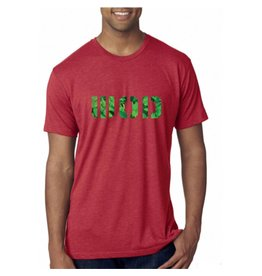 WOD SPORT WOD TRIBLEND CREW - VINTAGE RED/LEAVES PRINT