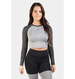 JED NORTH JED NORTH RHYTHM FITTED LONG SLEEVE CROP TOP - GRAY