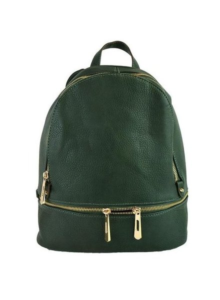 Ahdorned double zipper backpack-olive