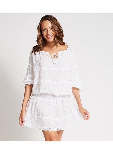 Debbie Katz Cotton Gauze Mini Dress w/ Lace