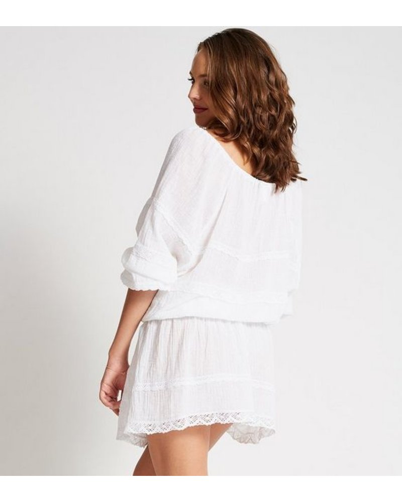 Debbie Katz Cotton Gauze Mini Dress w/ Lace