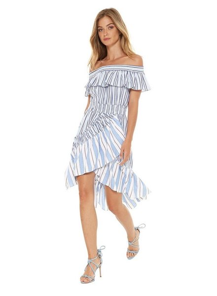 Misa Marin Off Shoulder Ruffle Hem Combo Dress