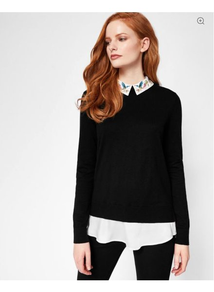 Ted Baker Highgrove Embroidered Collar Cotton Sweater