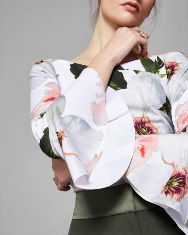 Ted Baker Chatsworth Bloom Bell-sleeved Top
