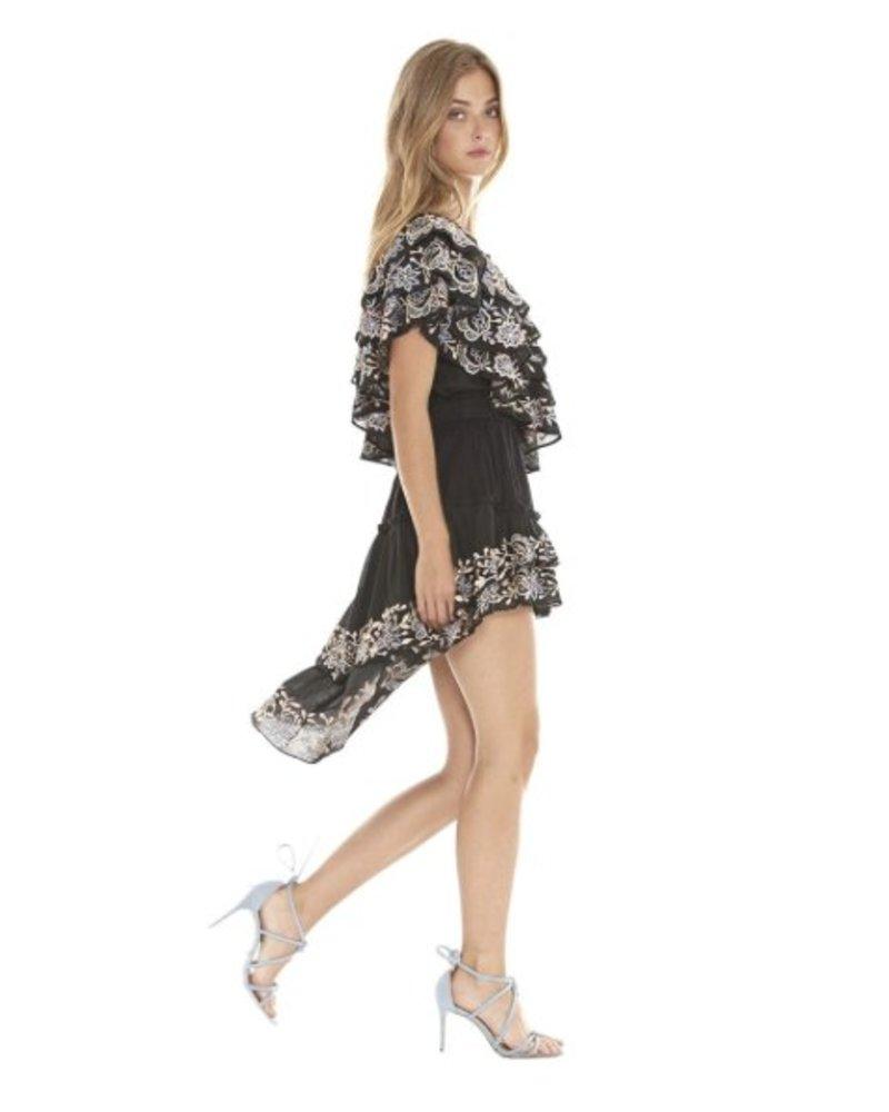 Misa Breanna Hi-low embroidered skirt