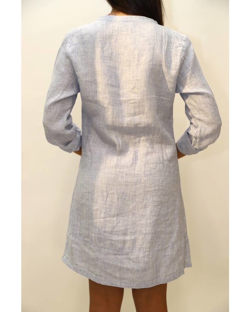 French Collection Pleat Front Linen Shirt Dress