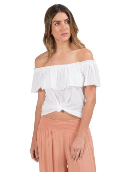 Elan Top with Ruffled Neck