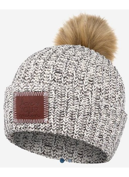 Love Your Melon Cuffed Pom Beanie with Natural Pom