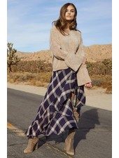 Elan Plaid Hi-Lo Wrap Skirt