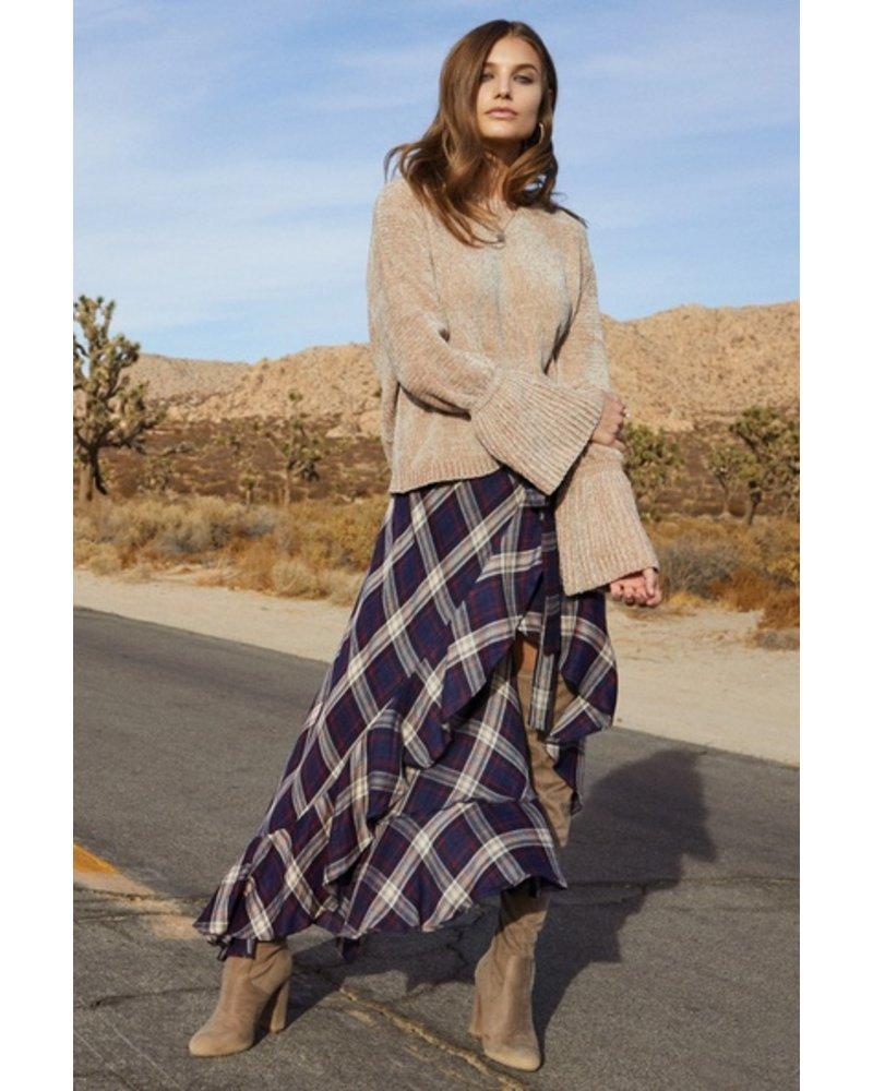 Elan Plaid Hi-Lo Wrap Skirt
