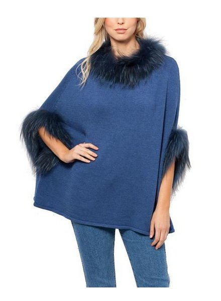 Love token Walter Poncho with Fur Trim