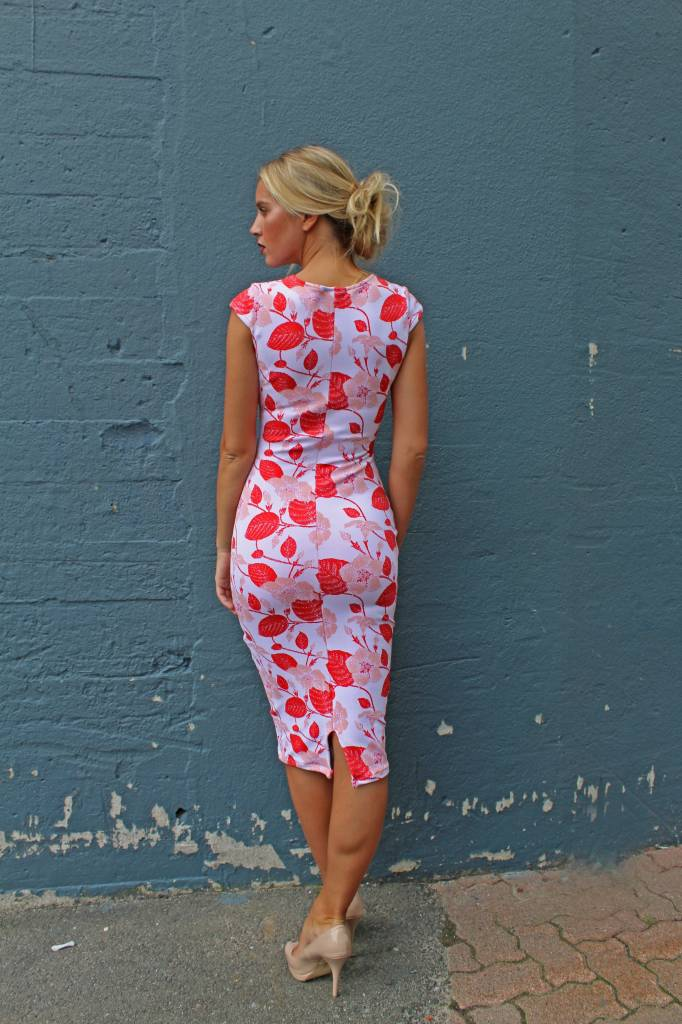 Pencil Dress (Pink/Red Floral)