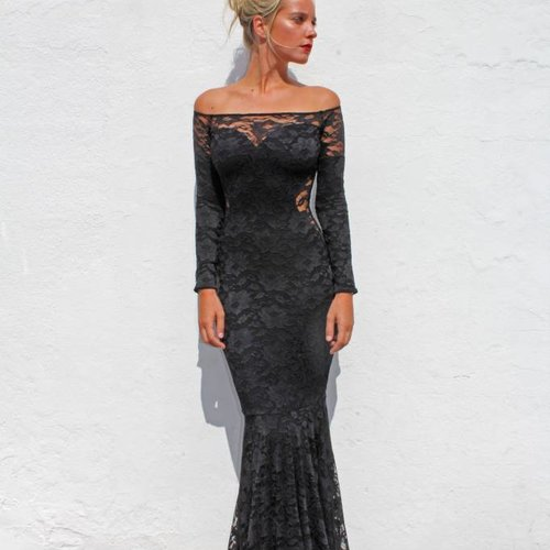 Gown Off The Shoulder (Black Lace)