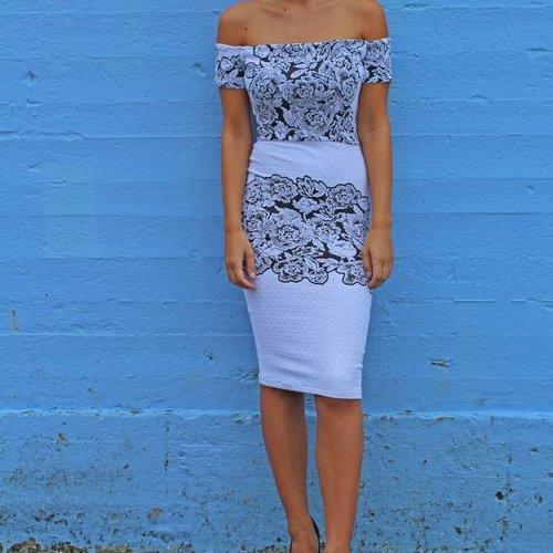 Pencil Dress (Black/White Floral Brazil)