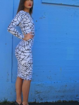 Pencil Dress Long Sleeve (Blk/Wht Squiggle)
