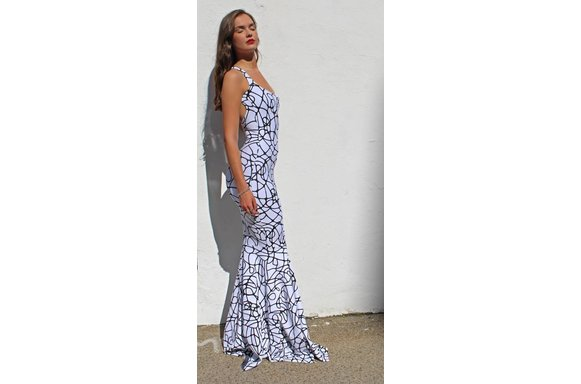Exaggerated Mermaid Maxi X-Back (Blk/Squiggle)