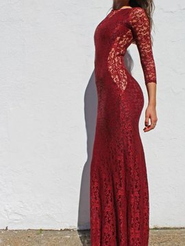 Mermaid Maxi (Burgundy Lace)