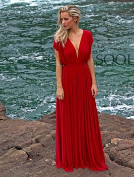 Draped Maxi Dress (Red Barcelona)